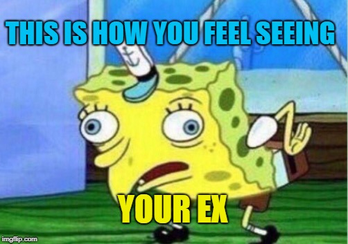 Mocking Spongebob Meme | THIS IS HOW YOU FEEL SEEING YOUR EX | image tagged in memes,mocking spongebob | made w/ Imgflip meme maker