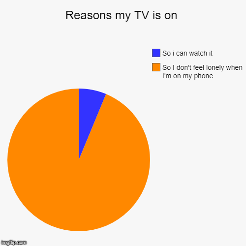 Reasons my TV is on | So I don't feel lonely when I'm on my phone, So i can watch it | image tagged in funny,pie charts,trhtimmy,memes | made w/ Imgflip pie chart maker