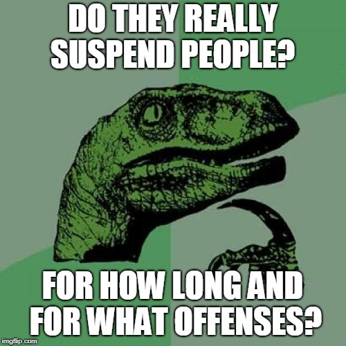 Philosoraptor Meme | DO THEY REALLY SUSPEND PEOPLE? FOR HOW LONG AND FOR WHAT OFFENSES? | image tagged in memes,philosoraptor | made w/ Imgflip meme maker