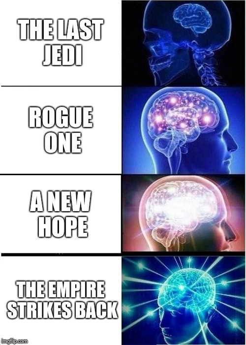 Expanding Brain Meme | THE LAST JEDI ROGUE ONE A NEW HOPE THE EMPIRE STRIKES BACK | image tagged in memes,expanding brain | made w/ Imgflip meme maker