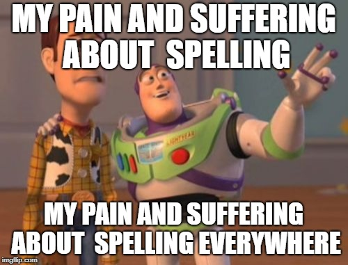 X, X Everywhere Meme | MY PAIN AND SUFFERING ABOUT  SPELLING MY PAIN AND SUFFERING ABOUT  SPELLING EVERYWHERE | image tagged in memes,x x everywhere | made w/ Imgflip meme maker