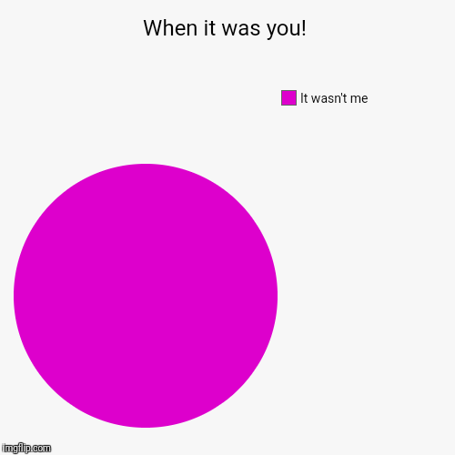 When it was you! | It wasn't me | image tagged in funny,pie charts | made w/ Imgflip pie chart maker