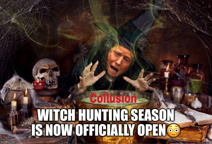 Witch Hunt | WITCH HUNTING SEASON IS NOW OFFICIALLY OPEN | image tagged in witch hunt,donald trump,russian collusion,hunting season | made w/ Imgflip meme maker