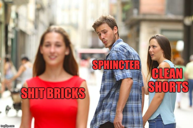 Distracted Boyfriend Meme | SHIT BRICKS SPHINCTER CLEAN SHORTS | image tagged in memes,distracted boyfriend | made w/ Imgflip meme maker