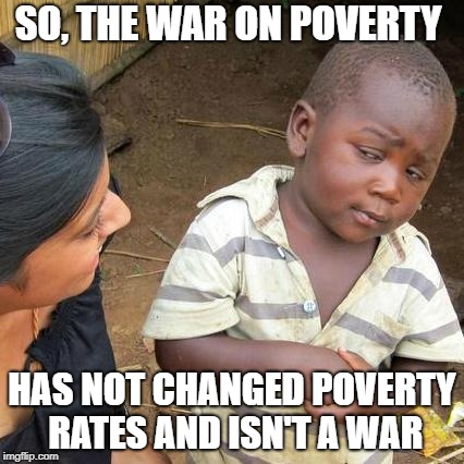 Third World Skeptical Kid Meme | SO, THE WAR ON POVERTY HAS NOT CHANGED POVERTY RATES AND ISN'T A WAR | image tagged in memes,third world skeptical kid | made w/ Imgflip meme maker