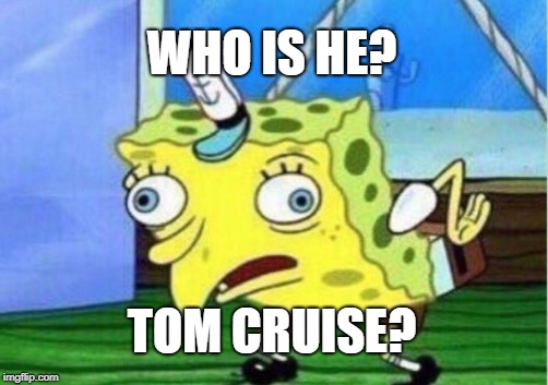 Mocking Spongebob Meme | WHO IS HE? TOM CRUISE? | image tagged in memes,mocking spongebob | made w/ Imgflip meme maker