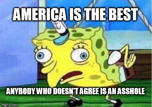 Mocking Spongebob | AMERICA IS THE BEST ANYBODY WHO DOESN'T AGREE IS AN ASSHOLE | image tagged in memes,mocking spongebob,america,usa,united states of america,america isn't the greatest country | made w/ Imgflip meme maker