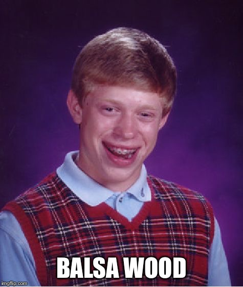 Bad Luck Brian Meme | BALSA WOOD | image tagged in memes,bad luck brian | made w/ Imgflip meme maker