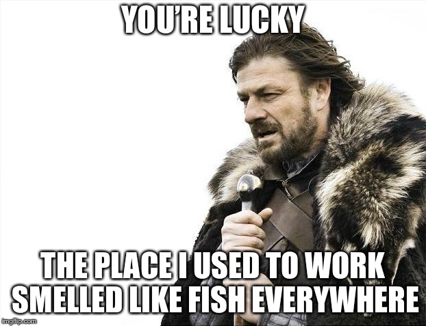 Brace Yourselves X is Coming Meme | YOU'RE LUCKY THE PLACE I USED TO WORK SMELLED LIKE FISH EVERYWHERE | image tagged in memes,brace yourselves x is coming | made w/ Imgflip meme maker