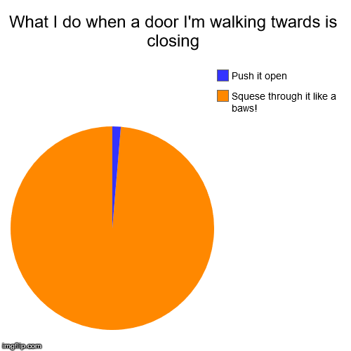 Quick, before it closes on me! | What I do when a door I'm walking twards is closing | Squese through it like a baws!, Push it open | image tagged in funny,pie charts | made w/ Imgflip chart maker
