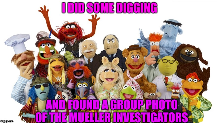I DID SOME DIGGING AND FOUND A GROUP PHOTO OF THE MUELLER INVESTIGATORS | image tagged in muppets | made w/ Imgflip meme maker