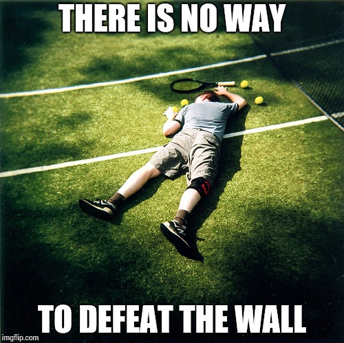 Tennis Defeat Meme | THERE IS NO WAY TO DEFEAT THE WALL | image tagged in memes,tennis defeat | made w/ Imgflip meme maker