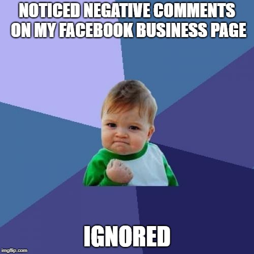 Success Kid Meme | NOTICED NEGATIVE COMMENTS ON MY FACEBOOK BUSINESS PAGE IGNORED | image tagged in memes,success kid | made w/ Imgflip meme maker