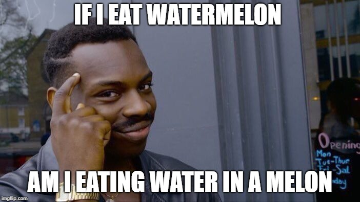 Roll Safe Think About It Meme | IF I EAT WATERMELON AM I EATING WATER IN A MELON | image tagged in memes,roll safe think about it | made w/ Imgflip meme maker