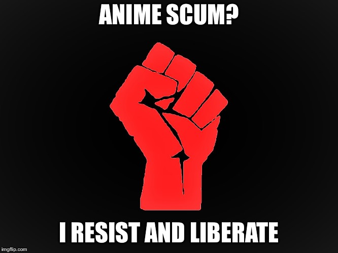 NO MORE WEEBS | ANIME SCUM? I RESIST AND LIBERATE | image tagged in resist,weeaboo,weebs,liberation,memes | made w/ Imgflip meme maker