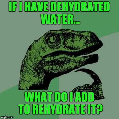 Questions like this kept me out of the good schools... | IF I HAVE DEHYDRATED WATER... WHAT DO I ADD TO REHYDRATE IT? | image tagged in memes,philosoraptor | made w/ Imgflip meme maker