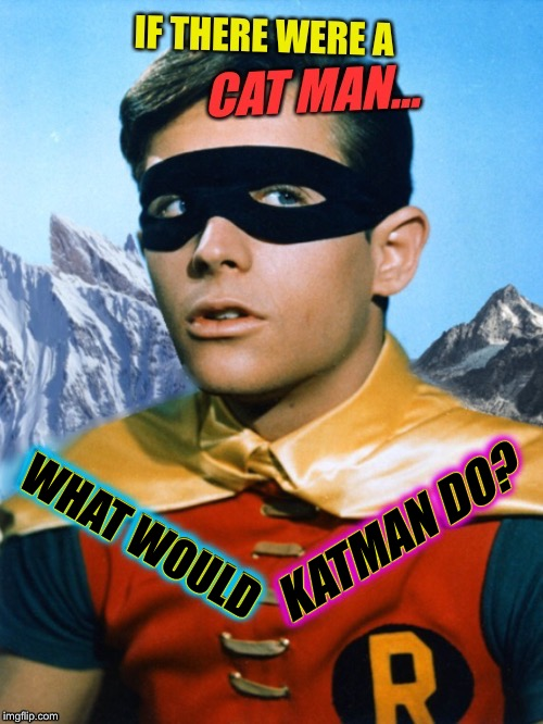 Philoso-Robin | WHAT WOULD KATMAN DO? | image tagged in kathmandu,batman and robin,catwoman,bob seger,dc comics,funny memes | made w/ Imgflip meme maker