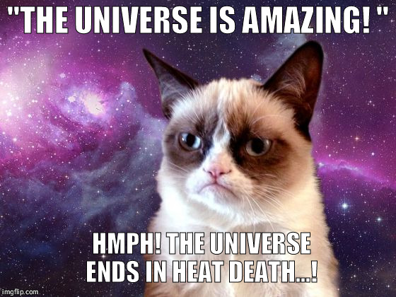 Hmph, whats the point!  | ''THE UNIVERSE IS AMAZING! '' HMPH! THE UNIVERSE ENDS IN HEAT DEATH...! | image tagged in funny,memes,grumpy cat,universe | made w/ Imgflip meme maker