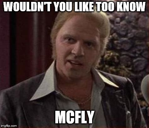 WOULDN'T YOU LIKE TOO KNOW MCFLY | made w/ Imgflip meme maker