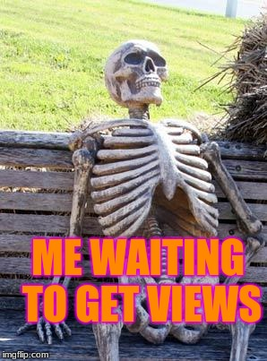 Waiting Skeleton Meme | ME WAITING TO GET VIEWS | image tagged in memes,waiting skeleton | made w/ Imgflip meme maker