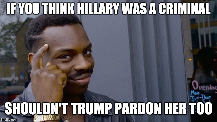 Roll Safe Think About It Meme | IF YOU THINK HILLARY WAS A CRIMINAL SHOULDN'T TRUMP PARDON HER TOO | image tagged in memes,roll safe think about it | made w/ Imgflip meme maker