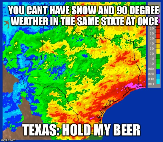YOU CANT HAVE SNOW AND 90 DEGREE WEATHER IN THE SAME STATE AT ONCE TEXAS: HOLD MY BEER | image tagged in weather | made w/ Imgflip meme maker