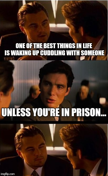 Inception Meme | ONE OF THE BEST THINGS IN LIFE IS WAKING UP CUDDLING WITH SOMEONE UNLESS YOU'RE IN PRISON... | image tagged in memes,inception | made w/ Imgflip meme maker