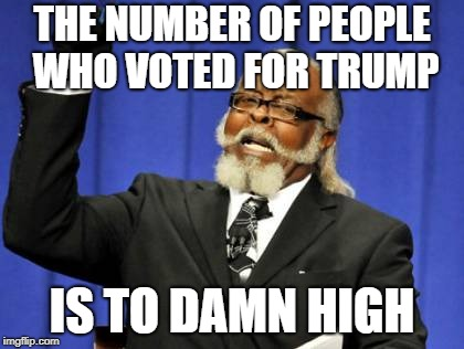 Too Damn High Meme | THE NUMBER OF PEOPLE WHO VOTED FOR TRUMP IS TO DAMN HIGH | image tagged in memes,too damn high | made w/ Imgflip meme maker