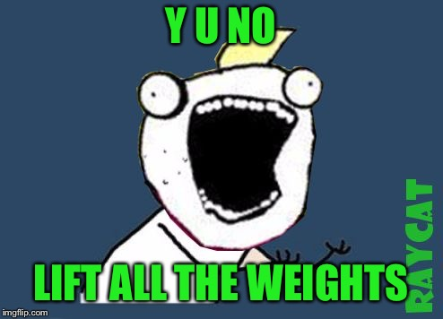 Y U No X All The Y | Y U NO LIFT ALL THE WEIGHTS | image tagged in y u no x all the y | made w/ Imgflip meme maker