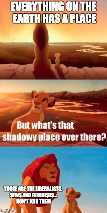Lol | EVERYTHING ON THE EARTH HAS A PLACE THOSE ARE THE LIBERALISTS, SJWS AND FEMINISTS... DON'T JOIN THEM | image tagged in memes,simba shadowy place,sjws,liberals,femenist | made w/ Imgflip meme maker
