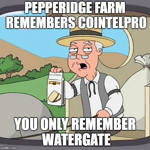 Pepperidge Farm Remembers COINTELPRO | PEPPERIDGE FARM REMEMBERS COINTELPRO YOU ONLY REMEMBER WATERGATE | image tagged in memes,pepperidge farm remembers,cointelpro | made w/ Imgflip meme maker