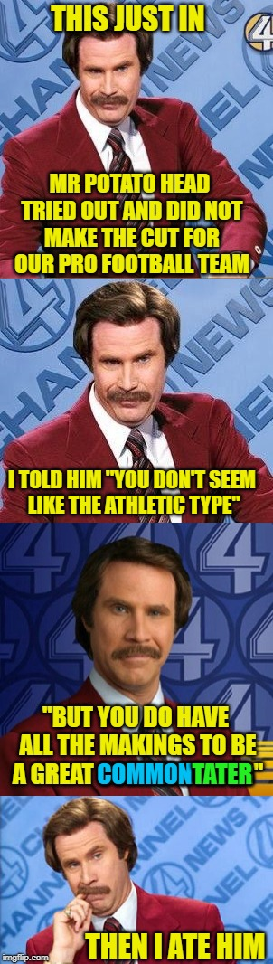 "We Interrupt Your Meme Feed With This News Brief From Your Favorite Commentator | THIS JUST IN THEN I ATE HIM MR POTATO HEAD TRIED OUT AND DID NOT MAKE THE CUT FOR OUR PRO FOOTBALL TEAM I TOLD HIM ""YOU DON'T SEEM LIKE THE  