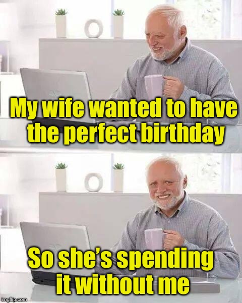 Hide the Pain Harold Meme | My wife wanted to have the perfect birthday So she's spending it without me | image tagged in memes,hide the pain harold | made w/ Imgflip meme maker