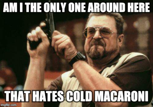 Am I The Only One Around Here Meme | AM I THE ONLY ONE AROUND HERE THAT HATES COLD MACARONI?! | image tagged in memes,am i the only one around here | made w/ Imgflip meme maker
