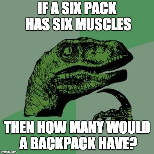 Philosoraptor Meme | IF A SIX PACK HAS SIX MUSCLES THEN HOW MANY WOULD A BACKPACK HAVE? | image tagged in memes,philosoraptor | made w/ Imgflip meme maker