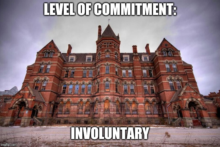 When your wife questions your commitment | LEVEL OF COMMITMENT: INVOLUNTARY | image tagged in asylum,kirkbride | made w/ Imgflip meme maker