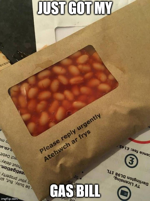 The service really stinks though | JUST GOT MY GAS BILL | image tagged in visual pun,beans,gas | made w/ Imgflip meme maker