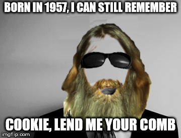 the missing swiggy | BORN IN 1957, I CAN STILL REMEMBER COOKIE, LEND ME YOUR COMB | image tagged in the missing swiggy | made w/ Imgflip meme maker
