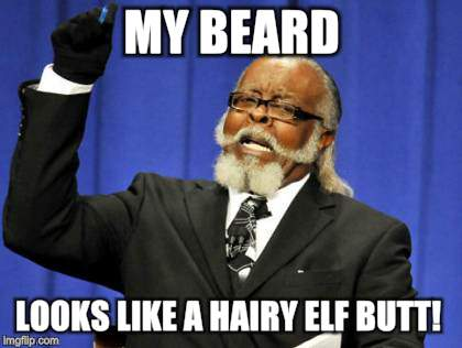 Too Damn High Meme | MY BEARD LOOKS LIKE A HAIRY ELF BUTT! | image tagged in memes,too damn high | made w/ Imgflip meme maker