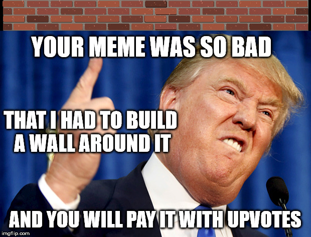 Donald Trump | YOUR MEME WAS SO BAD AND YOU WILL PAY IT WITH UPVOTES THAT I HAD TO BUILD A WALL AROUND IT | image tagged in memes,donald trump,trump wall,memes about memes | made w/ Imgflip meme maker