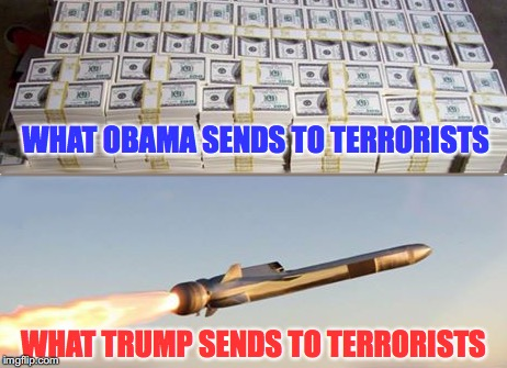 Do You See The Difference? |  WHAT OBAMA SENDS TO TERRORISTS; WHAT TRUMP SENDS TO TERRORISTS | image tagged in trump,assad donald trump chemical weapons attack tomahawk missiles | made w/ Imgflip meme maker