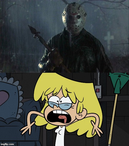 Jason scares Lori | image tagged in friday the 13th,the loud house | made w/ Imgflip meme maker