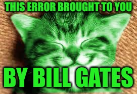 happy RayCat | THIS ERROR BROUGHT TO YOU BY BILL GATES | image tagged in happy raycat | made w/ Imgflip meme maker