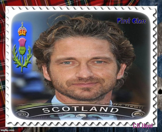 Gerard Butler Stamp | image tagged in gerard butler,scottish,queen elizabeth,google search,yahoo | made w/ Imgflip meme maker