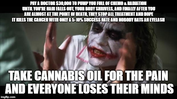 cannabis oil | PAY A DOCTOR $30,000 TO PUMP YOU FULL OF CHEMO & RADIATION UNTIL YOU'RE HAIR FALLS OUT, YOUR BODY SHRIVELS, AND FINALLY AFTER YOU ARE ALMOST | image tagged in memes,and everybody loses their minds | made w/ Imgflip meme maker