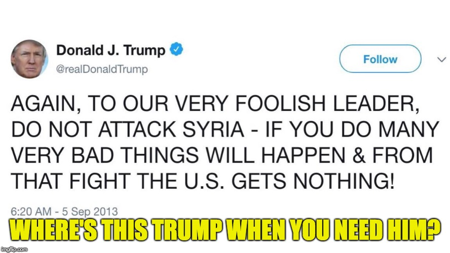 There's always a tweet | WHERE'S THIS TRUMP WHEN YOU NEED HIM? | image tagged in donald trump,syria,twitter,wag the dog | made w/ Imgflip meme maker