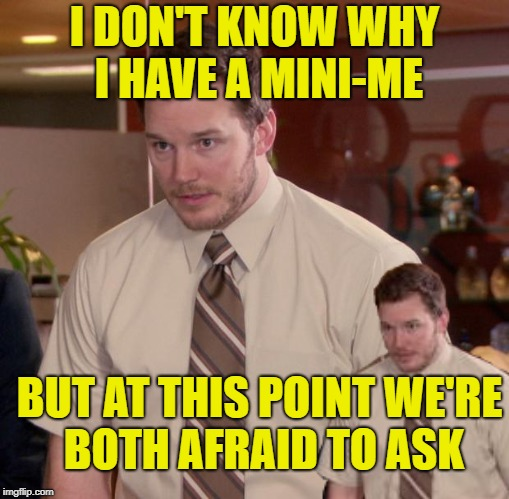 Mini-Andy | I DON'T KNOW WHY I HAVE A MINI-ME BUT AT THIS POINT WE'RE BOTH AFRAID TO ASK | image tagged in funny memes,afraid to ask andy,austin powers | made w/ Imgflip meme maker