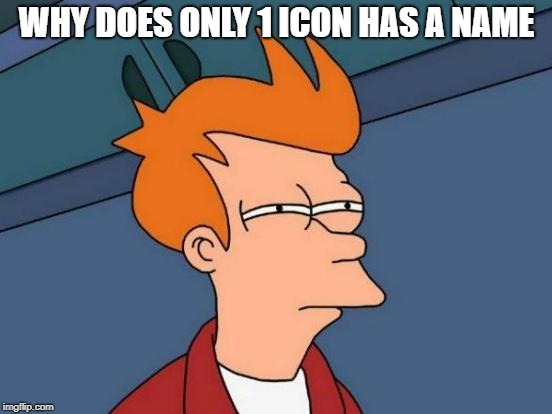matrix icon privileges | WHY DOES ONLY 1 ICON HAS A NAME | image tagged in memes,futurama fry,funny,ssby | made w/ Imgflip meme maker