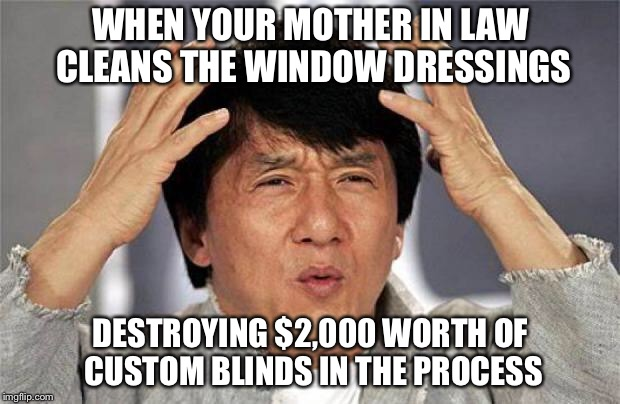 Jackie Chan WTF Face | WHEN YOUR MOTHER IN LAW CLEANS THE WINDOW DRESSINGS DESTROYING $2,000 WORTH OF CUSTOM BLINDS IN THE PROCESS | image tagged in jackie chan wtf face | made w/ Imgflip meme maker