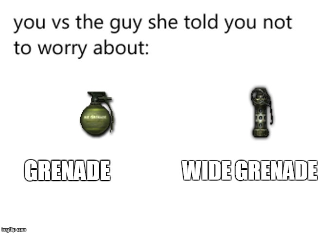 oh, ok | GRENADE WIDE GRENADE | image tagged in you,you vs the guy she tells you not to worry about | made w/ Imgflip meme maker